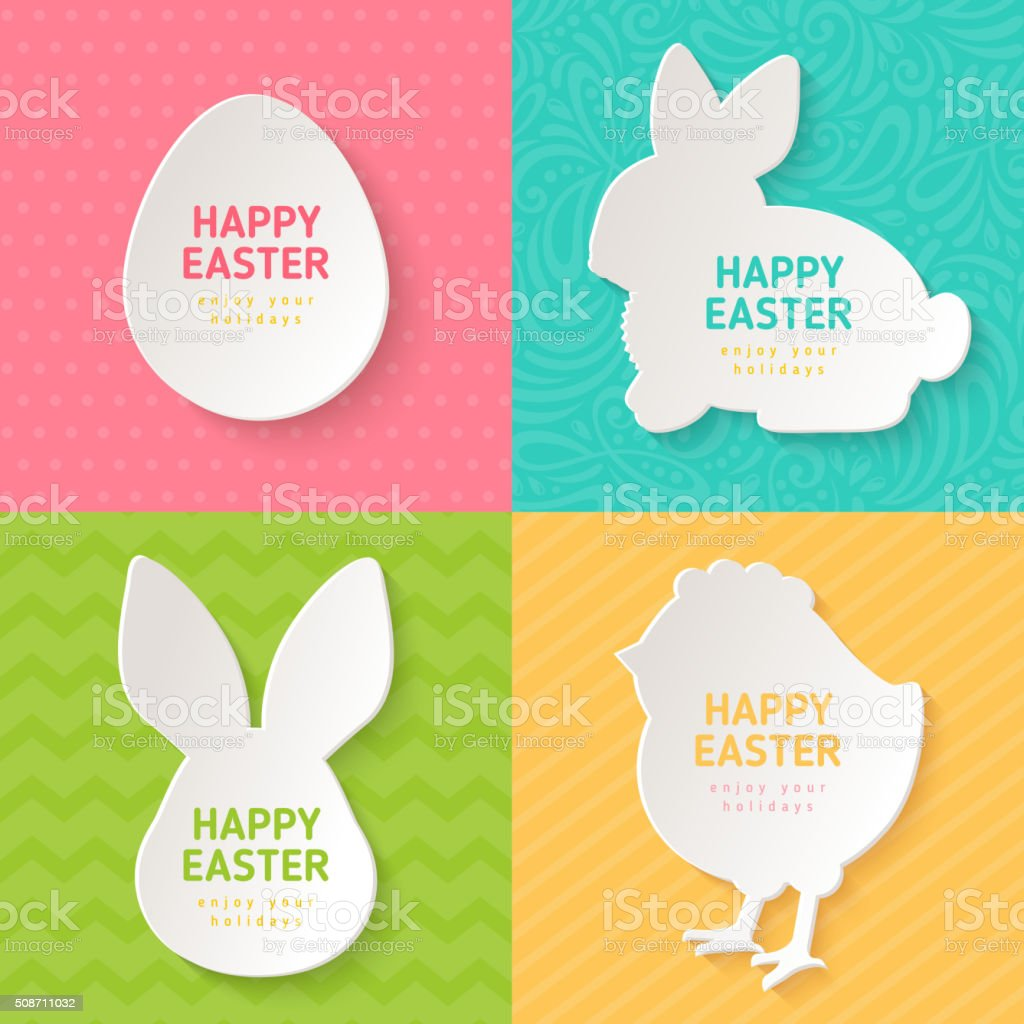 Easter Greeting Cards with Paper Cut Symbols vector art illustration