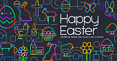Easter Greeting Icons in a geometric web 2.0 flat style