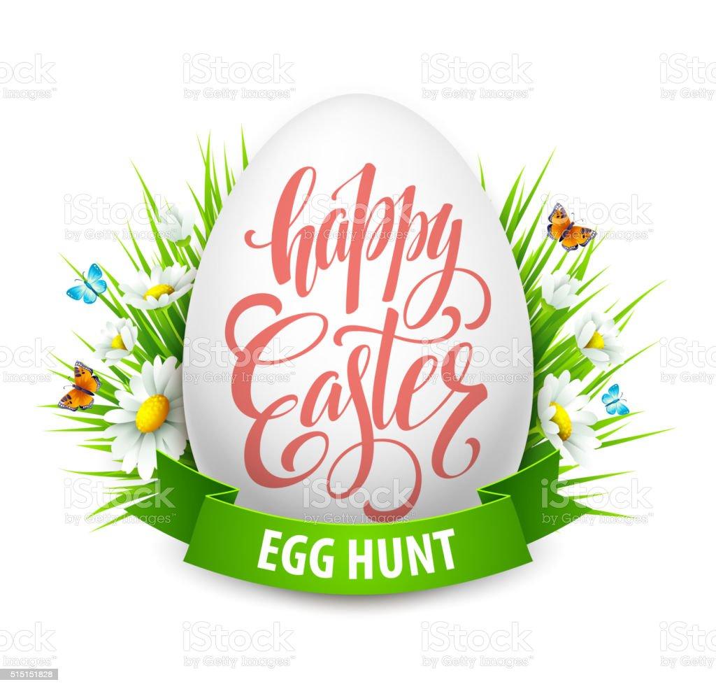 Easter greeting lettering. Eggs and flowers. Vector illustration vector art illustration