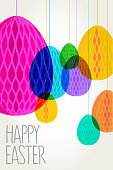 Easter egg shaped retro paper decorations