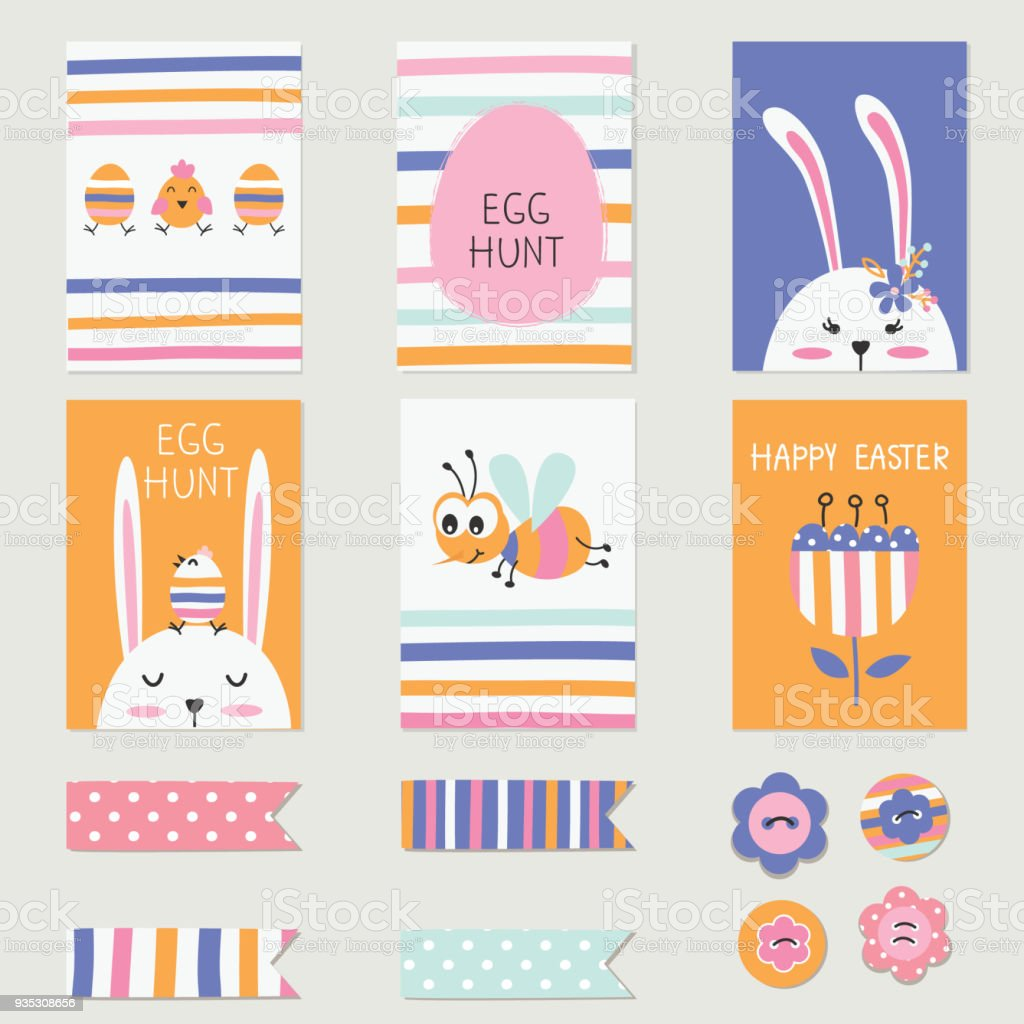Easter Greetings Cards Set With Cute Rabbits Eggs Flowers Stock