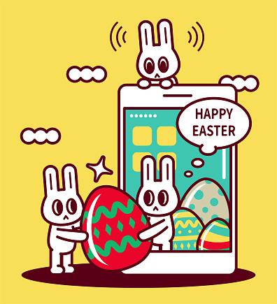 Easter greetings with smartphone, happy Easter bunny turning up on smartphone screen and sending Easter Eggs
