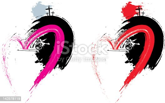 Abstract vector illustration of the Easter event. Grunge heart symbol is on a separate layer. An A4 CMYK PDF of each illustration is Included in the zip file. Created with Illustrator brushes.