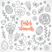 Easter hand drawn design elements. Eggs, tree, tulips in vase, bow, branch, bunny, rabbit, garland, cupcake and flowers. Perfect for coloring book.