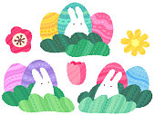 This is a set of Easter illustrations in a relaxed, hand-drawn style (White bunnies appearing from the grass, eggs, flowers).