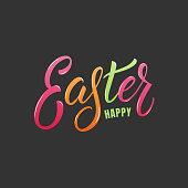 Easter. Happy Easter colorful lettering label design.