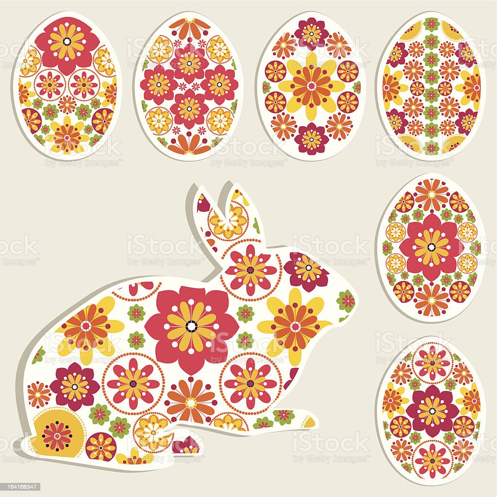 Easter hare and eggs set with decorative flowers elements royalty-free stock vector art