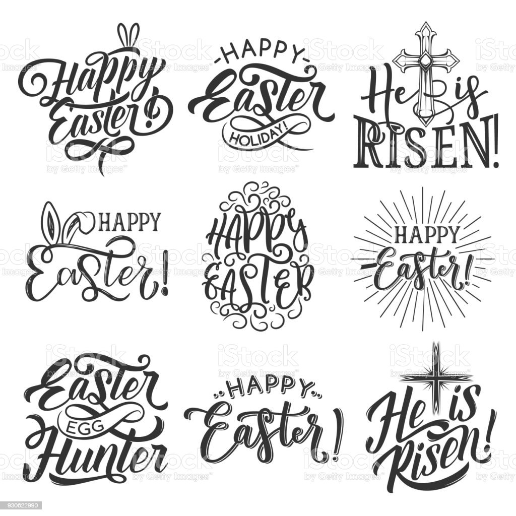 Insigne de vacances de Pâques oeuf, oreille de lapin, des croix - Illustration vectorielle