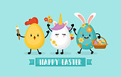 Easter holiday banner design with eggs bunny, chick and unicorn funny cartoon characters. Vector illustration