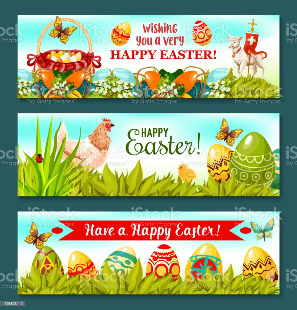Easter Holiday banner set with decorated eggs vector art illustration