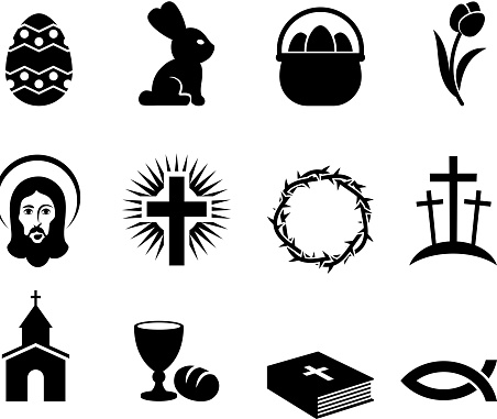 Easter Holiday black and white royalty free vector icon set