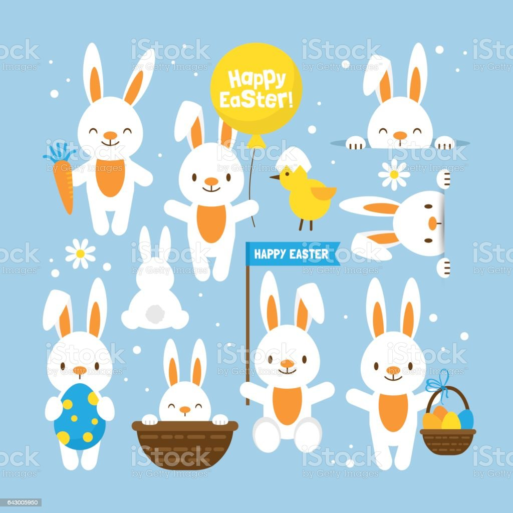 Easter holiday concept with cute bunny set for design vector art illustration