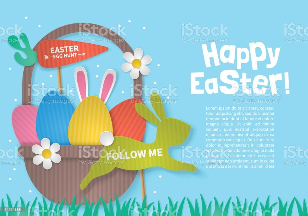 Easter holiday concept with eggs basket and bunny paper silhouette. vector art illustration