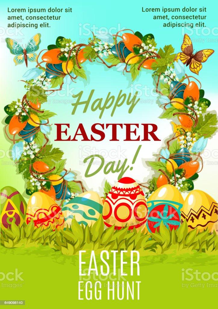 Easter holiday egg hunt cartoon poster design vector art illustration