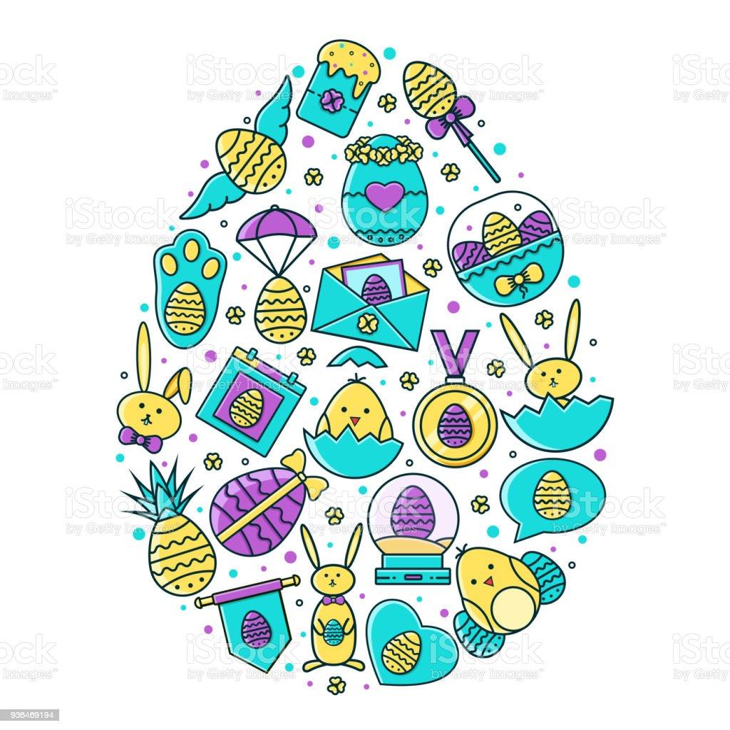 Ilustración de Huevo De Pascua Día De Fiesta En Forma De Composición ...