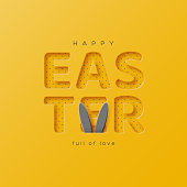 Easter holiday greeting card. Paper cut style yellow color with rabbit ears, holiday background. Vector illustration.