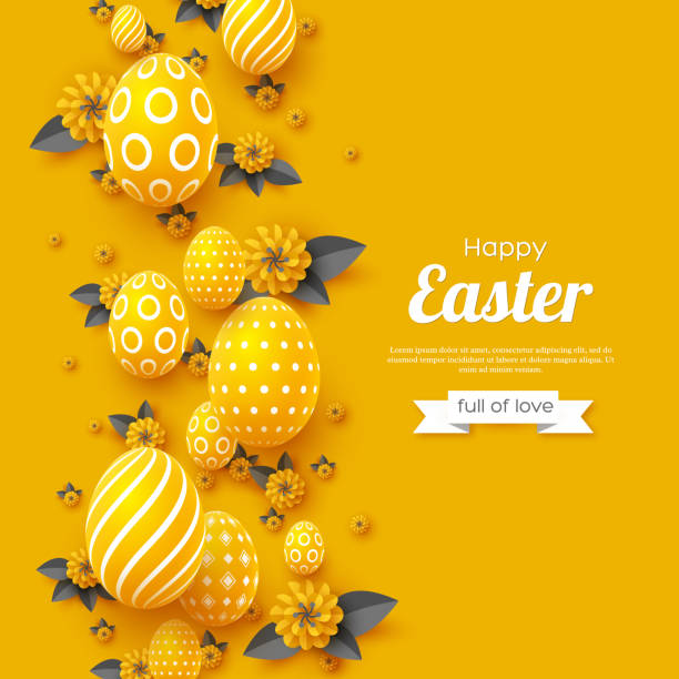 Easter holiday greeting card. vector art illustration