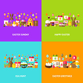 Easter Holiday Greeting Set. Flat Design Vector Illustration. Spring Posters.