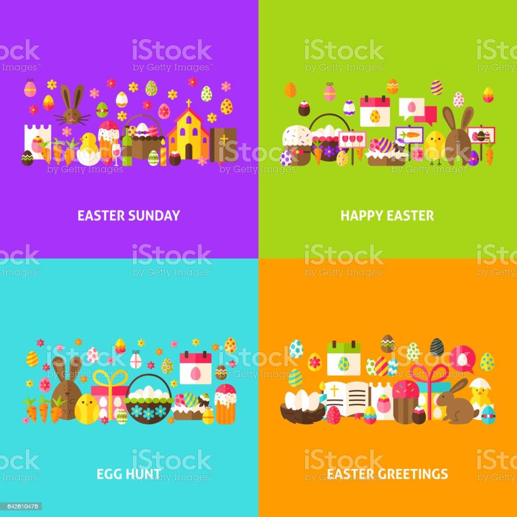 Easter Holiday Greeting Set vector art illustration