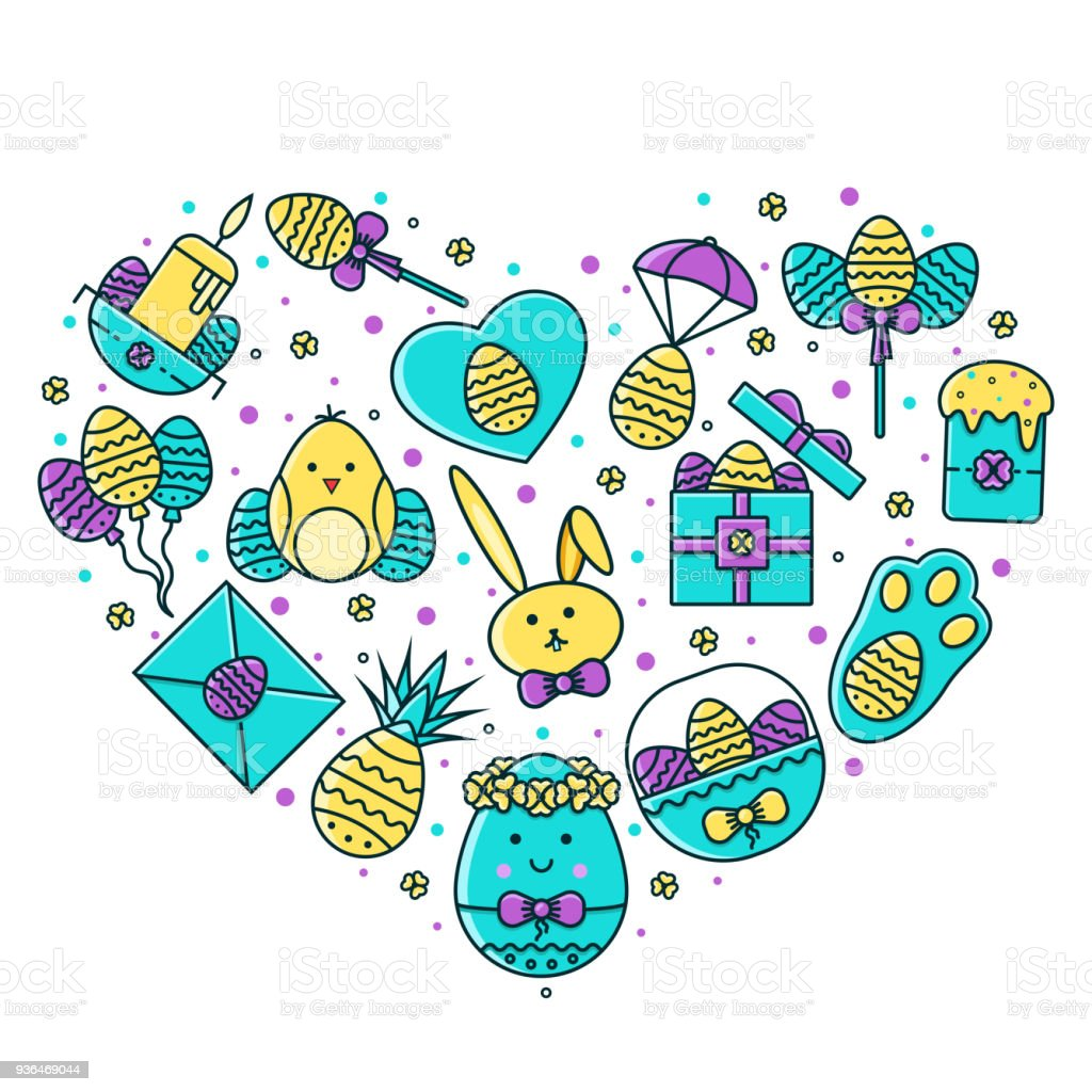 Easter Holiday Heart Shaped Composition With Flat Color Line Symbols