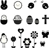 Vector illustration - Easter Holiday Icon Set, design elements in black and white.