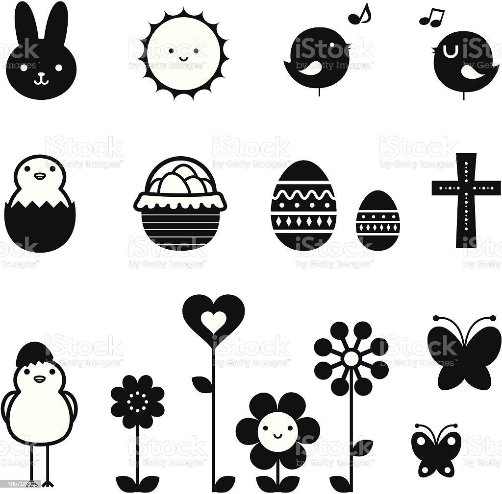 Пасхальный праздник икона набор, элементы дизайна в черно-белом векторная иллюстрация