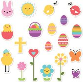 Vector illustration - Easter Holiday Icon Set, Design Elements In Multi Colored.