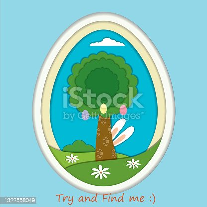 istock Easter holiday illustration with a rabbit and a tree 1322558049