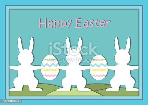 istock Easter holiday illustration with rabbits and eggs. 1322558041