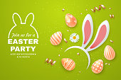 Easter Holiday light green background with bunny ears headband, easter eggs and scattered golden confetti. Top view composition. Template for greeting card, party invite, promo. Vector illustration.