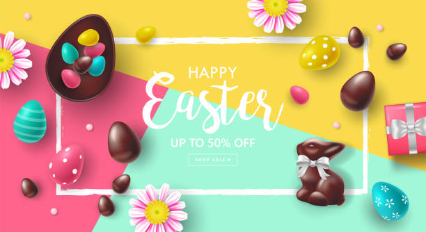 Easter holiday sale banner design with chocolate bunny and Easter eggs. Template for poster, cards and advertising vector art illustration