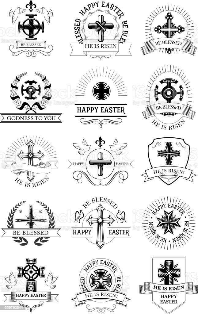 Easter holiday symbol set with crucifix cross vector art illustration