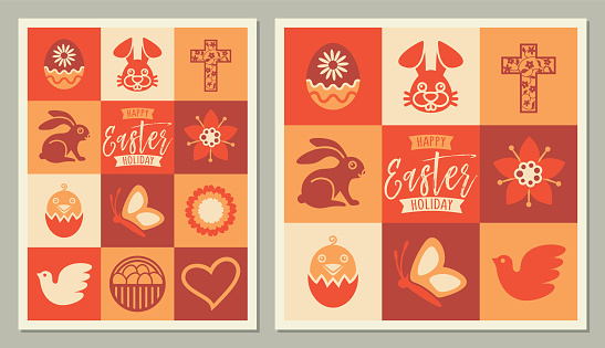 Easter Holidays square icons Greeting Card