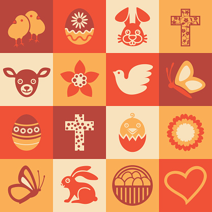 Easter Holidays square icons set