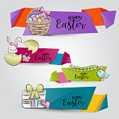 Easter horizontal banner set. Cute header for invitation, advertisement, web page. Hand drawn  doodle cartoon style spring holiday design concept. Vector illustration.