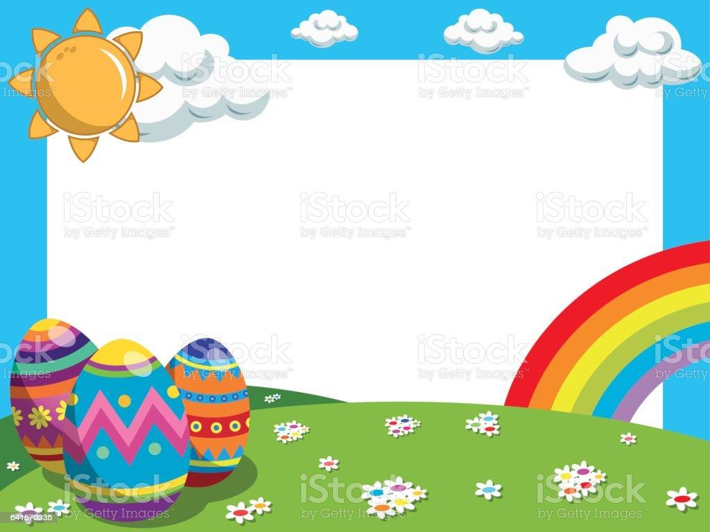 easter horizontal frame decorated eggs raibow meadow stock vector