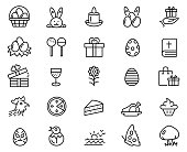 Easter icon set , vector illustration