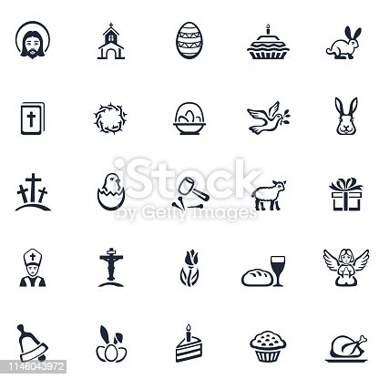 Easter holiday icon set