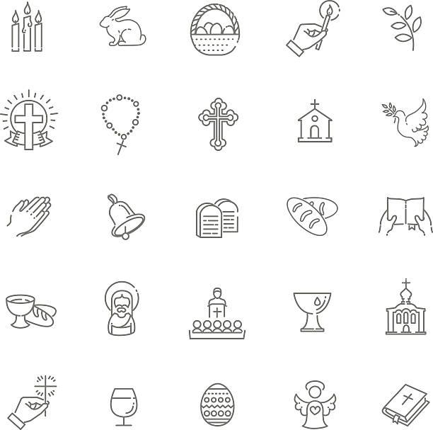 ilustrações de stock, clip art, desenhos animados e ícones de ícones de páscoa conjunto. cristianismo conjunto de ícones - cristianismo