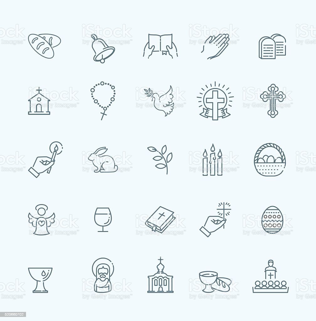Easter icons set. Christianity icon set vector art illustration