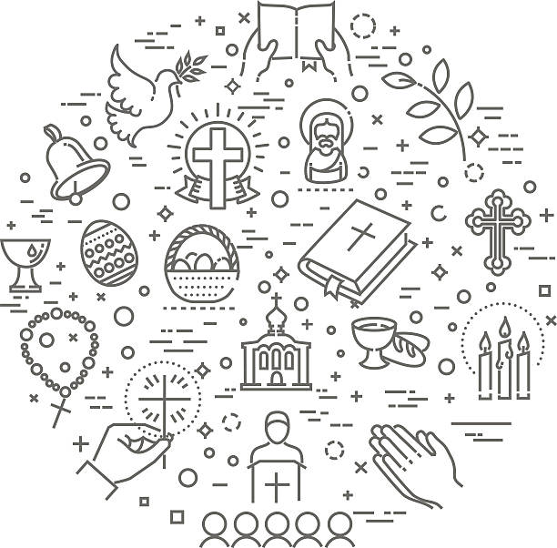 easter icons set. christianity - taufe stock-grafiken, -clipart, -cartoons und -symbole