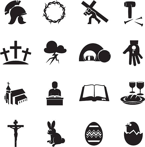Easter Icons Black Easter icon set religious symbol stock illustrations