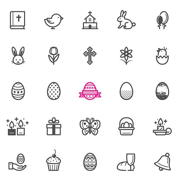 stockillustraties, clipart, cartoons en iconen met easter icons - chicken bird in box