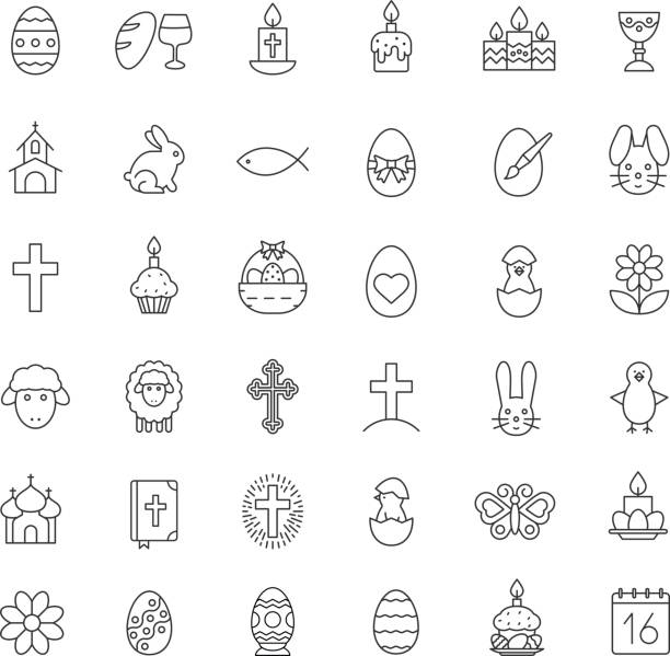 easter icons - birds calendar stock illustrations, clip art, cartoons, & icons