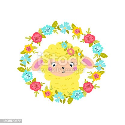 istock Easter illustration of cute lamb in spring flowers. 1308520672