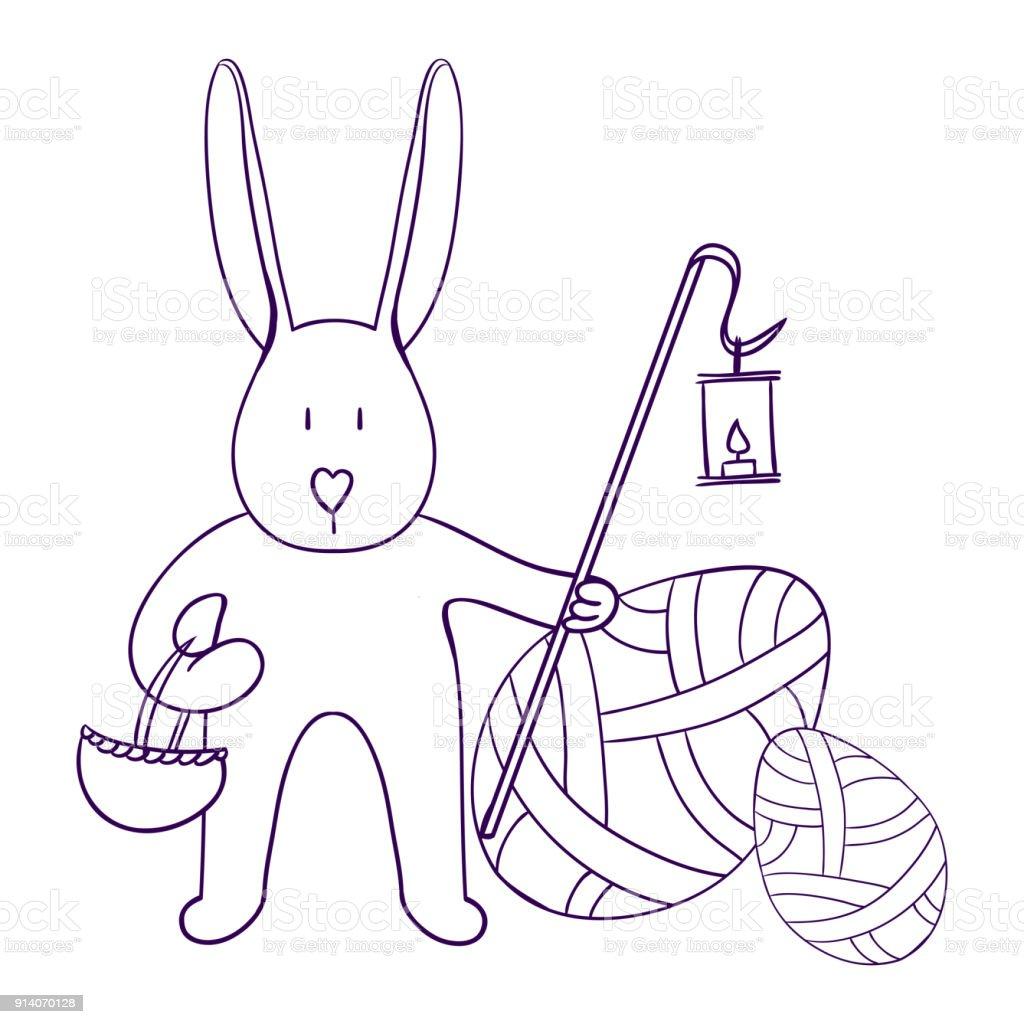 Easter Illustrasyon Tavsan Yumurta Arka Plan Uzerinde Bir Sepet Ve