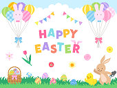 Easter illustration set (Rabbit and chick doing Easter egg hunt, the grass with hidden eggs, and a basket full of eggs)