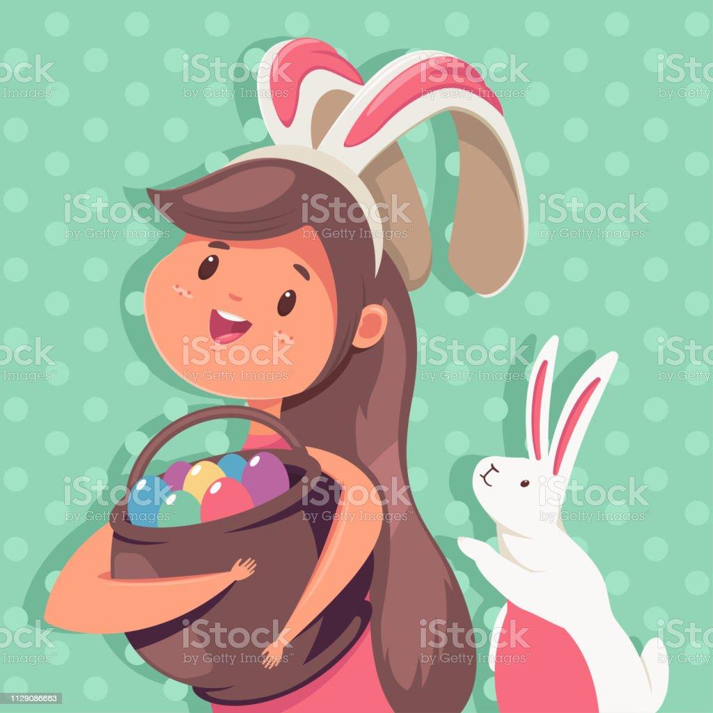 イースター ウサギの耳卵のバスケットかわいいウサギと幸せな女の子の
