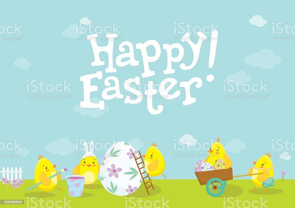 Easter illustration with cute chicken cartoons. vector art illustration