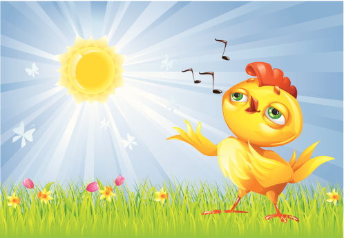 Easter illustration with Singing Chicken